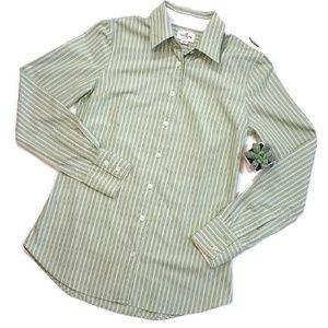J Crew Haberdashery Green Stripe Long Sleeve Shirt